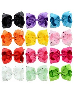 (12 pcs) Multi-color Rhinestone Embellished Bow Baby Hair Clip Set