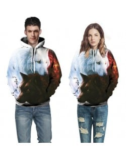 Snow Wolf Printing High Fashion Hooded Top