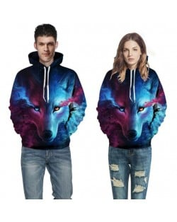 Blue Wolf Printing High Fashion Hoodie