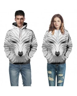 3D White Wolf Printing High Fashion Hoodie