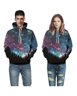 3D Forest Night Sky Printing High Fashion Hoodie