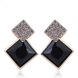 Czech Rhinestone and Glass Square Fashion Elegant Costume Earrings - Black