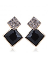 Czech Rhinestone and Glass Square Fashion Elegant Costume Earrings - Black