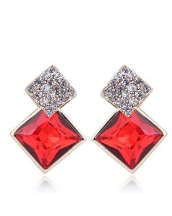 Czech Rhinestone and Glass Square Fashion Elegant Costume Earrings - Red