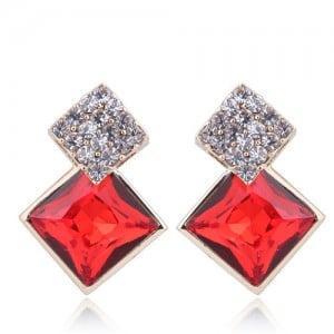 Czech Rhinestone and Glass Square Fashion Elegant Costume Earrings - Red