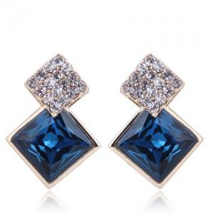 Czech Rhinestone and Glass Square Fashion Elegant Costume Earrings - Blue
