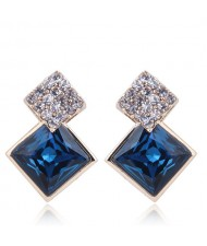 Czech Rhinestone and Glass Square Fashion Elegant Costume Earrings - Blue