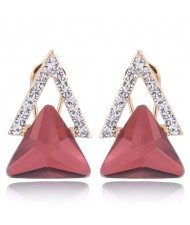 Czech Rhinestone and Glass Triangle Shape Graceful Fashion Earrings - Red