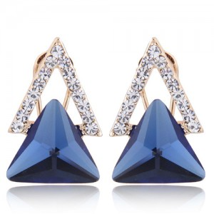 Czech Rhinestone and Glass Triangle Shape Graceful Fashion Earrings - Blue