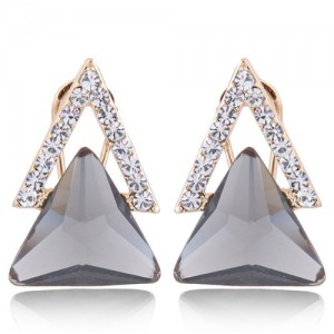 Czech Rhinestone and Glass Triangle Shape Graceful Fashion Earrings - Gray