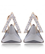 Czech Rhinestone and Glass Triangle Shape Graceful Fashion Earrings - Gray