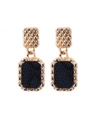 Snake Skin Design Square Shape Shining Fashion Women Costume Earrings - Black