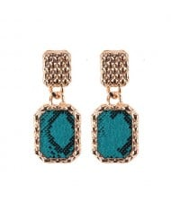 Snake Skin Design Square Shape Shining Fashion Women Costume Earrings - Ink Green
