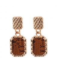 Czech Rhinestone Embellished Hollow Fashion Vintage Square Earrings - Red