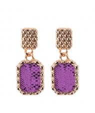 Snake Skin Design Square Shape Shining Fashion Women Costume Earrings - Purple