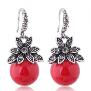 Czech Rhinestone Embellished Flower Pearl Fashion Costume Earrings - Red