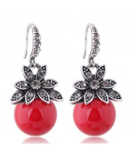 Czech Rhinestone Embellished Flower Pearl Fashion Costume Earrings - Red
