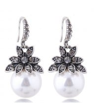 Czech Rhinestone Embellished Flower Pearl Fashion Costume Earrings - White