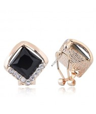 Czech Rhinestone Embellished Glass Square High Fashion Women Ear Clips - Black