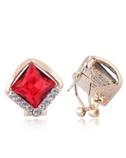 Czech Rhinestone Embellished Glass Square High Fashion Women Ear Clips - Red
