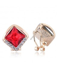 Czech Rhinestone Embellished Glass Square High Fashion Women Ear Clips - Red