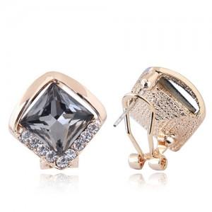 Czech Rhinestone Embellished Glass Square High Fashion Women Ear Clips - Gray