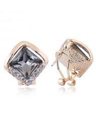 Czech Rhinestone Embellished Glass Square High Fashion Women Ear Clips - Gray