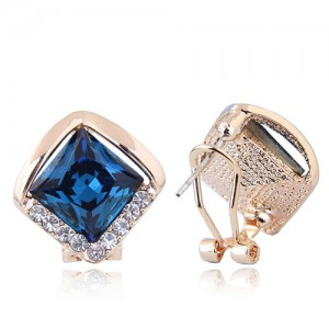 Czech Rhinestone Embellished Glass Square High Fashion Women Ear Clips - Blue