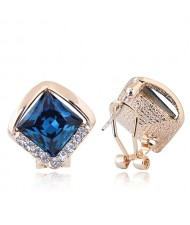 Czech Rhinestone Embellished Glass Square High Fashion Women Ear Clips - Blue
