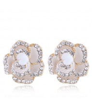 Czech Rhinestone Decorated 3D Flower Alloy Women Statement Earrings - White