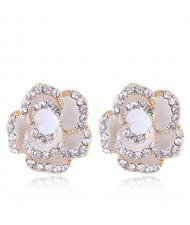Czech Rhinestone Decorated 3D Flower Alloy Women Statement Earrings - White
