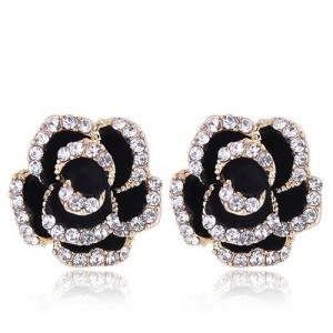 Czech Rhinestone Decorated 3D Flower Alloy Women Statement Earrings - Black