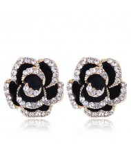 Czech Rhinestone Decorated 3D Flower Alloy Women Statement Earrings - Black