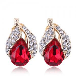 Czech Rhinestone Embellished Glass Fruit High Fashion Women Statement Earrings - Red