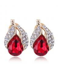 Czech Rhinestone Embellished Glass Fruit High Fashion Women Statement Earrings - Red