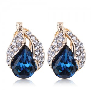 Czech Rhinestone Embellished Glass Fruit High Fashion Women Statement Earrings - Blue