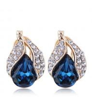 Czech Rhinestone Embellished Glass Fruit High Fashion Women Statement Earrings - Blue