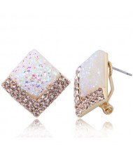 Czech Rhinestone Embellished Resin Square Shining High Fashion Earrings - White