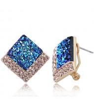 Czech Rhinestone Embellished Resin Square Shining High Fashion Earrings - Blue