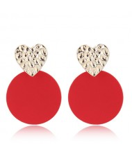 Golden Heart Red Round Fashion Costume Earrings