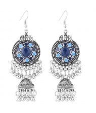 Oil-spot Glazed Vintage Waterdrops with Bells Tassel Design Women Costume Earrings - Royal Blue
