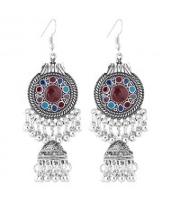 Oil-spot Glazed Vintage Waterdrops with Bells Tassel Design Women Costume Earrings - Multicolor