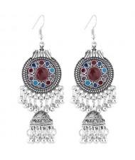 Oil-spot Glazed Vintage Waterdrops with Bells Tassel Design Women Costume Earrings - Multicolor