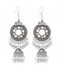 Oil-spot Glazed Vintage Waterdrops with Bells Tassel Design Women Costume Earrings - White