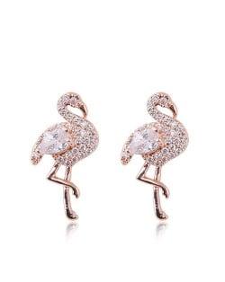 Rhinestone Embellished Shining Swan Design High Fashion Earrings - Golden