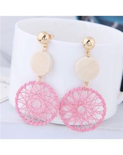 Sweet Weaving Style Dangling Hoop High Fashion Earrings - Pink