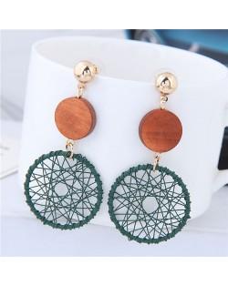 Sweet Weaving Style Dangling Hoop High Fashion Earrings - Green