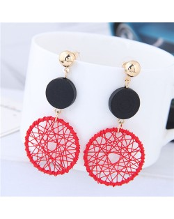 Sweet Weaving Style Dangling Hoop High Fashion Earrings - Red