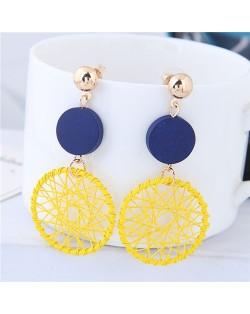 Sweet Weaving Style Dangling Hoop High Fashion Earrings - Yellow