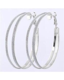 Dull Polish Surface Giant Hoop High Fashion Women Earrings - Silver